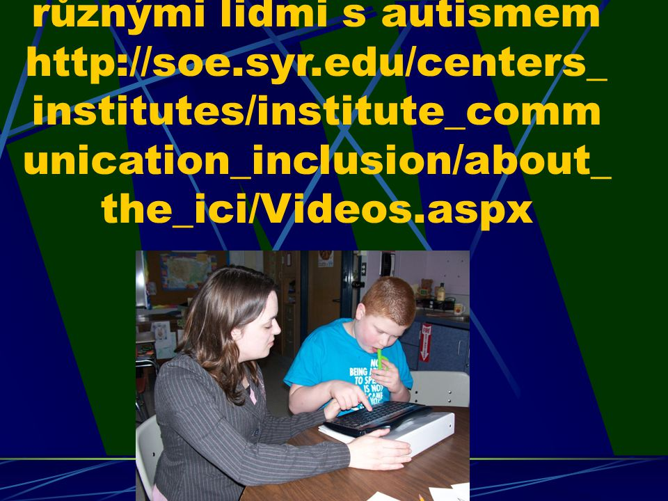 Video: ukázka FK s různými lidmi s autismem http://soe.syr.edu/centers_ institutes/institute_comm unication_inclusion/about_ the_ici/Videos.aspx