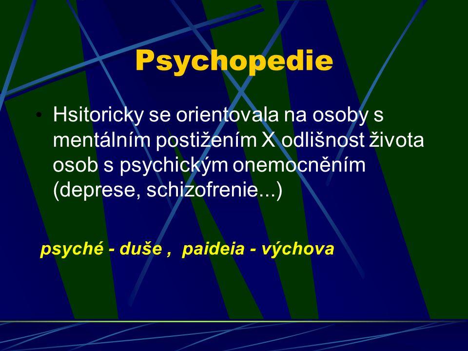 Psychopedie Hsitoricky se orientovala na osoby s mentálním postižením X odlišnost života osob s psychickým onemocněním (deprese, schizofrenie...) psyc