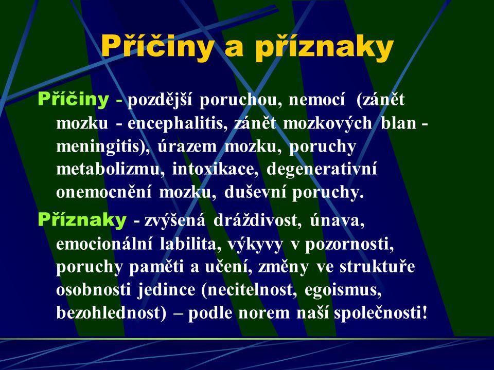 Příčiny a příznaky Příčiny - pozdější poruchou, nemocí (zánět mozku - encephalitis, zánět mozkových blan - meningitis), úrazem mozku, poruchy metaboli