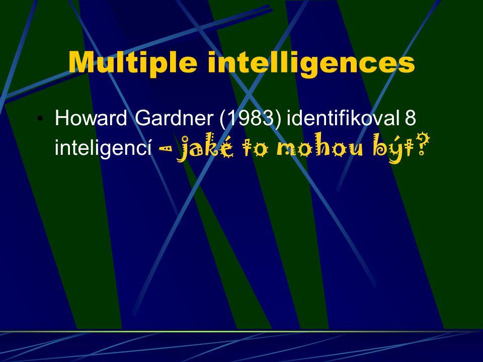 Multiple intelligences Howard Gardner (1983) identifikoval 8 inteligencí – jaké to mohou být?