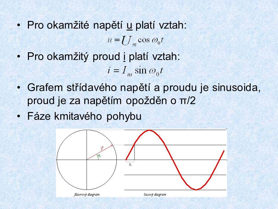 Pro okamžité napětí u platí vztah: Pro okamžitý proud i platí vztah: Grafem střídavého napětí a proudu je sinusoida, proud je za napětím opožděn o π/2