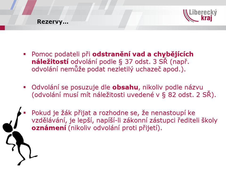 Rezervy…  Pomoc podateli při odstranění vad a chybějících náležitostí odvolání podle § 37 odst.