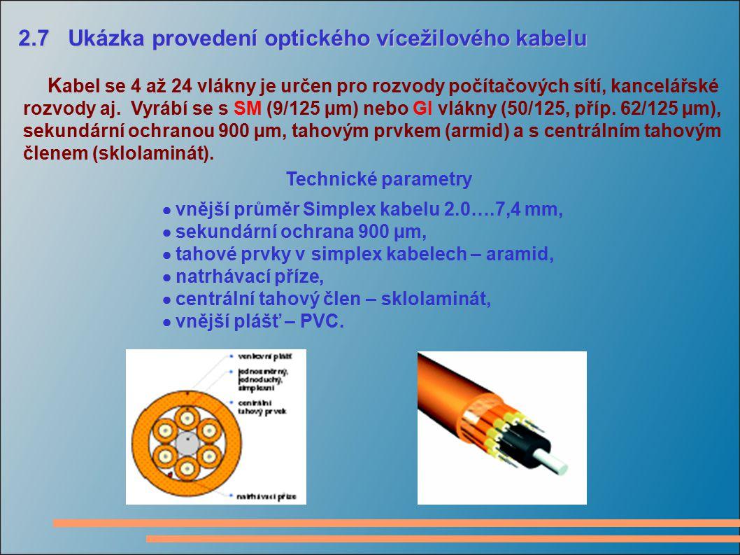 2.7 Ukázka provedení optického vícežilového kabelu 2.7 Ukázka provedení optického vícežilového kabelu K abel se 4 až 24 vlákny je určen pro rozvody po