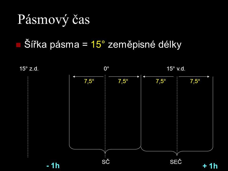 Pásmový čas Šířka pásma = 15° zeměpisné délky 0°15° v.d.15° z.d. 7,5° SČSEČ 7,5° - 1h + 1h