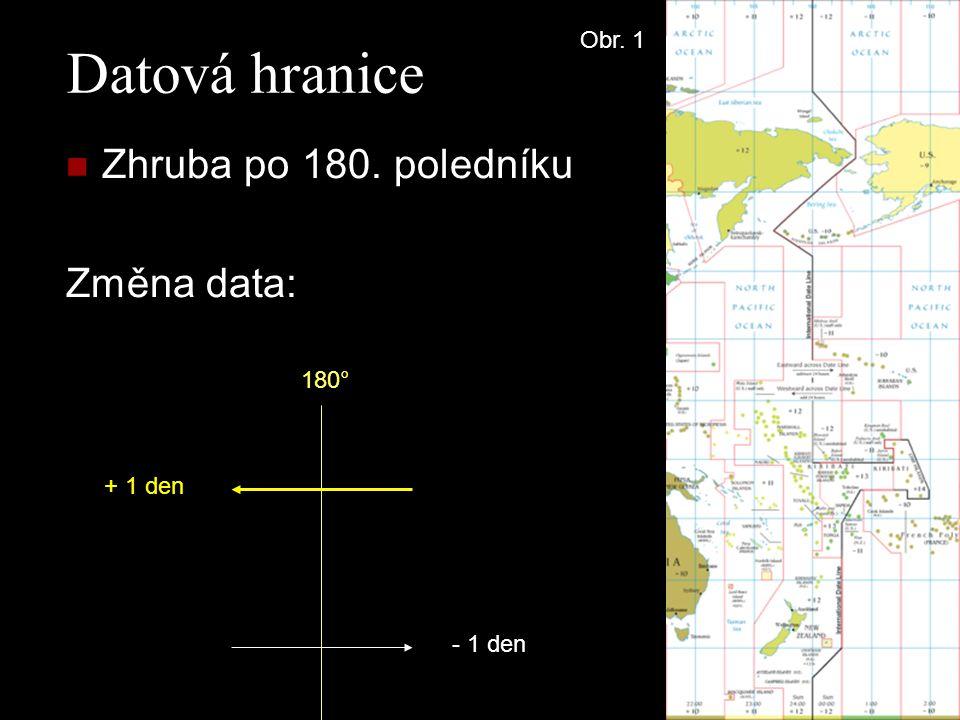 Datová hranice Zhruba po 180. poledníku Změna data: - 1 den + 1 den 180° Obr. 1