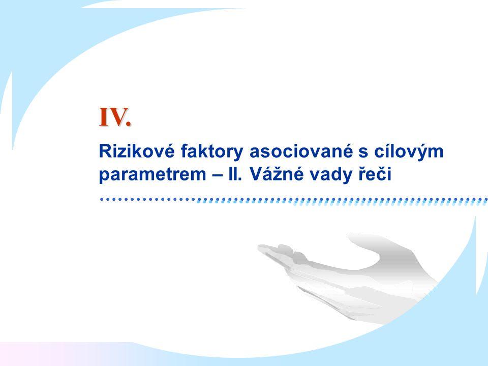 Rizikové faktory asociované s cílovým parametrem – II. Vážné vady řeči IV.