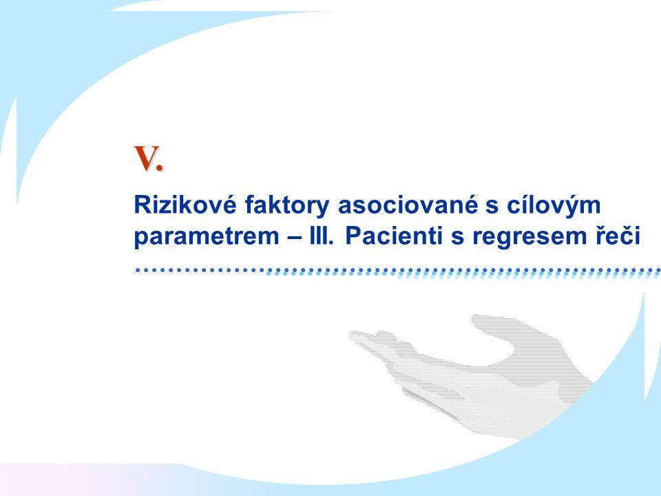 Rizikové faktory asociované s cílovým parametrem – III. Pacienti s regresem řeči V.