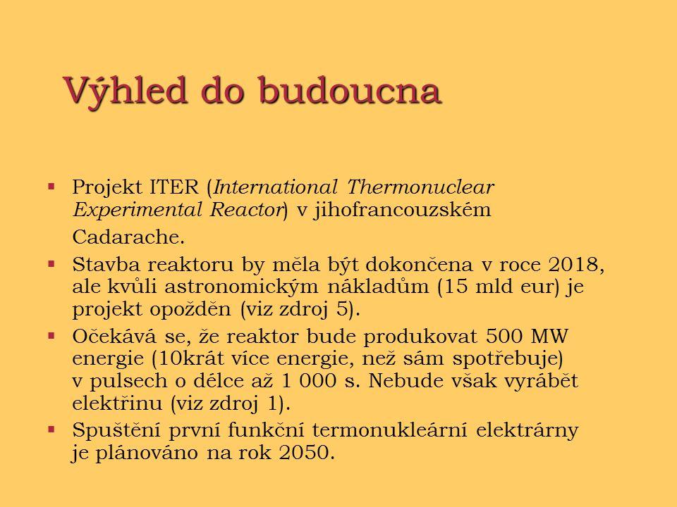 Výhled do budoucna  Projekt ITER ( International Thermonuclear Experimental Reactor ) v jihofrancouzském Cadarache.