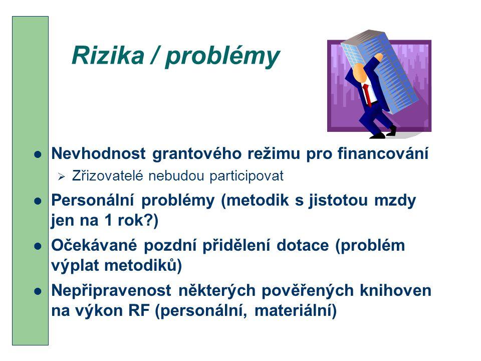 Rizika / problémy Nevhodnost grantového režimu pro financování  Zřizovatelé nebudou participovat Personální problémy (metodik s jistotou mzdy jen na 1 rok?) Očekávané pozdní přidělení dotace (problém výplat metodiků) Nepřipravenost některých pověřených knihoven na výkon RF (personální, materiální)