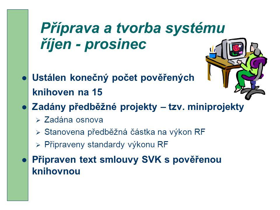 Příprava a tvorba systému říjen - prosinec Ustálen konečný počet pověřených knihoven na 15 Zadány předběžné projekty – tzv.