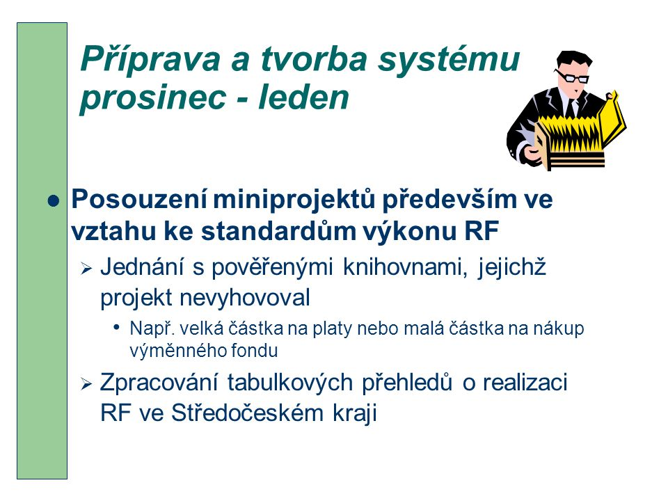 Příprava a tvorba systému prosinec - leden Posouzení miniprojektů především ve vztahu ke standardům výkonu RF  Jednání s pověřenými knihovnami, jejichž projekt nevyhovoval Např.