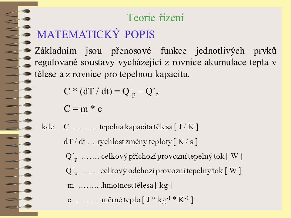 Teorie řízení MATEMATICKÝ POPIS Základním jsou přenosové funkce jednotlivých prvků regulované soustavy vycházející z rovnice akumulace tepla v tělese a z rovnice pro tepelnou kapacitu.