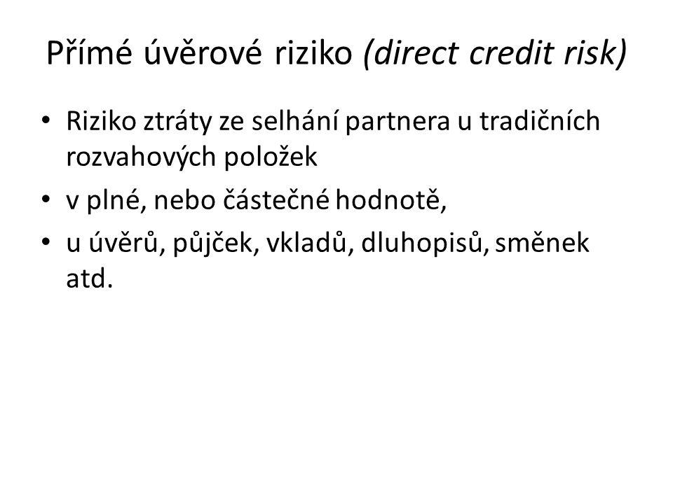 Přímé úvěrové riziko (direct credit risk) Riziko ztráty ze selhání partnera u tradičních rozvahových položek v plné, nebo částečné hodnotě, u úvěrů, p