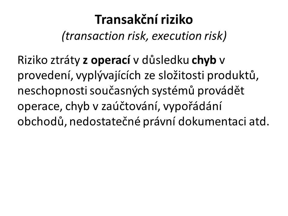 Transakční riziko (transaction risk, execution risk) Riziko ztráty z operací v důsledku chyb v provedení, vyplývajících ze složitosti produktů, nescho