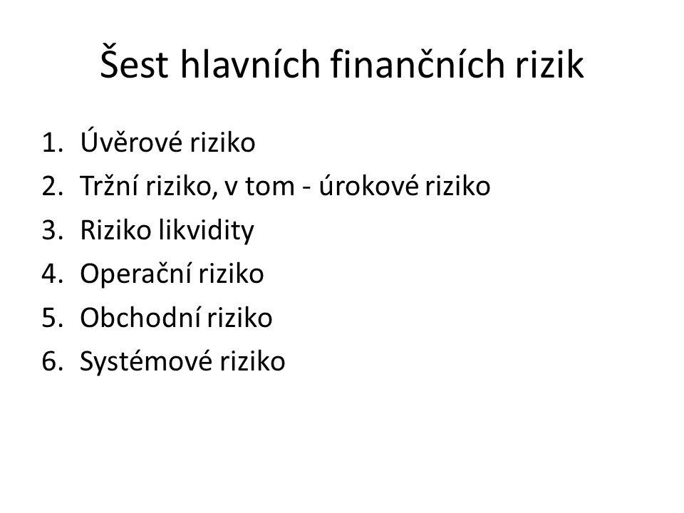 Riziko likvidity (liquidity risk) Dělí se na 2 kategorie 1.Riziko financování (funding risk), je rizikem ztráty v případě momentální platební neschopnosti, splnění závazků je podmíněno půjčkou za vyšší úrok 2.Riziko tržní likvidity (market liquidity risk) je rizikem ztráty v případě malé likvidity trhu s finančními nástroji, která brání rychlé likvidaci pozic, tím je omezen přístup k peněžním prostředkům, prodej za dobrou cenu vyžaduje delší čas.