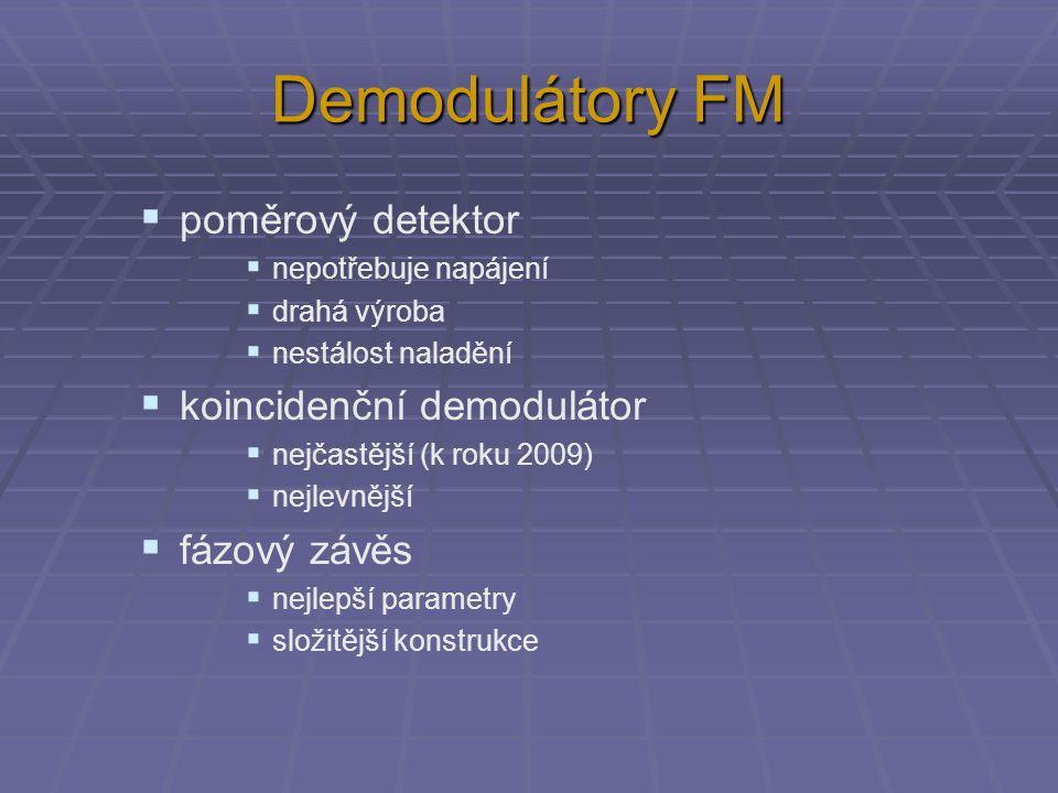 Poměrový detektor  nepotřebuje napájení  diody je třeba párovat  vinutí musí být přísně symetrická Nízkofrekvenční signál 40 Hz až 15 kHz Mezifrekvenční signál 10,7 MHz