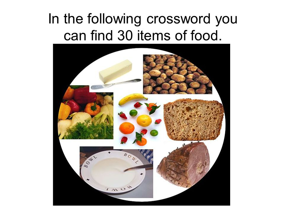 In the following crossword you can find 30 items of food.