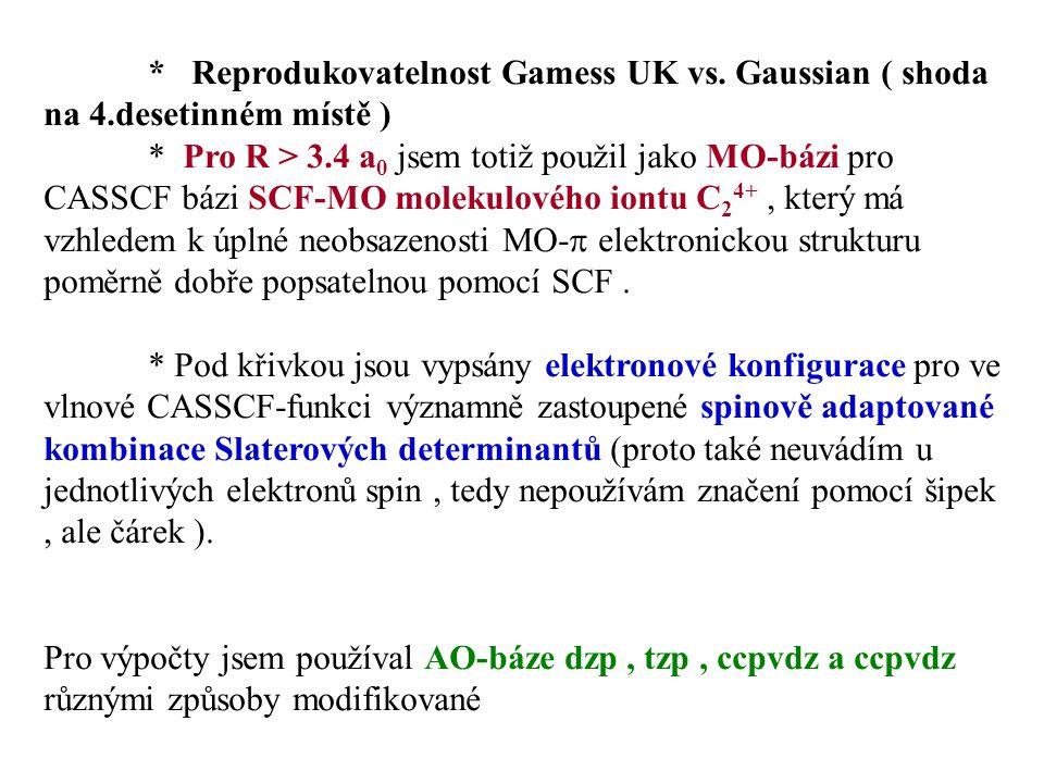 * Reprodukovatelnost Gamess UK vs. Gaussian ( shoda na 4.desetinném místě ) * Pro R > 3.4 a 0 jsem totiž použil jako MO-bázi pro CASSCF bázi SCF-MO mo