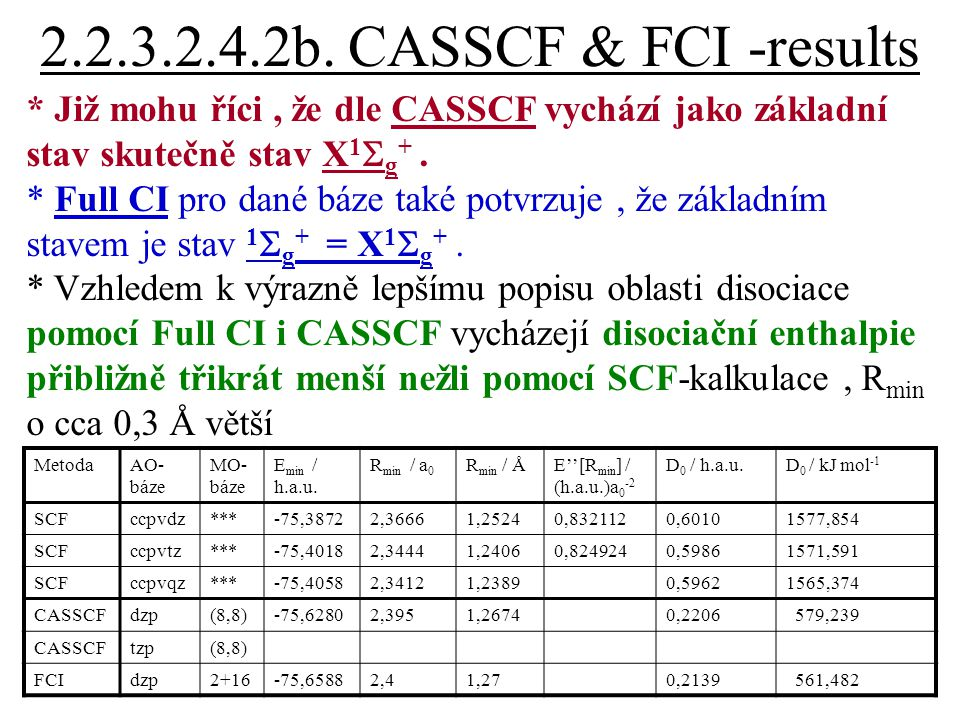 2.2.3.2.4.2b. CASSCF & FCI -results * Již mohu říci, že dle CASSCF vychází jako základní stav skutečně stav X 1  g +. * Full CI pro dané báze také po