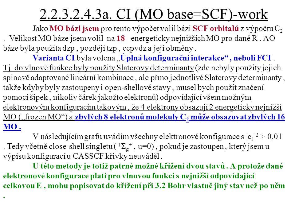2.2.3.2.4.3a. CI (MO base=SCF)-work Jako MO bázi jsem pro tento výpočet volil bázi SCF orbitalů z výpočtu C 2. Velikost MO báze jsem volil na 18 energ