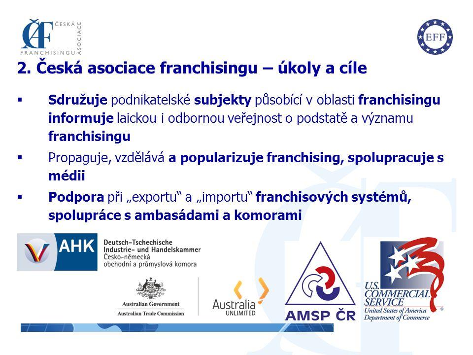 2. Česká asociace franchisingu – úkoly a cíle  Sdružuje podnikatelské subjekty působící v oblasti franchisingu informuje laickou i odbornou veřejnost
