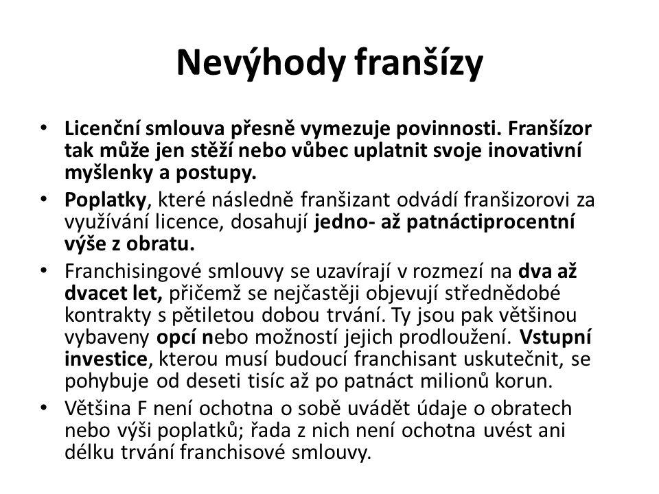 Nevýhody franšízy Licenční smlouva přesně vymezuje povinnosti. Franšízor tak může jen stěží nebo vůbec uplatnit svoje inovativní myšlenky a postupy. P