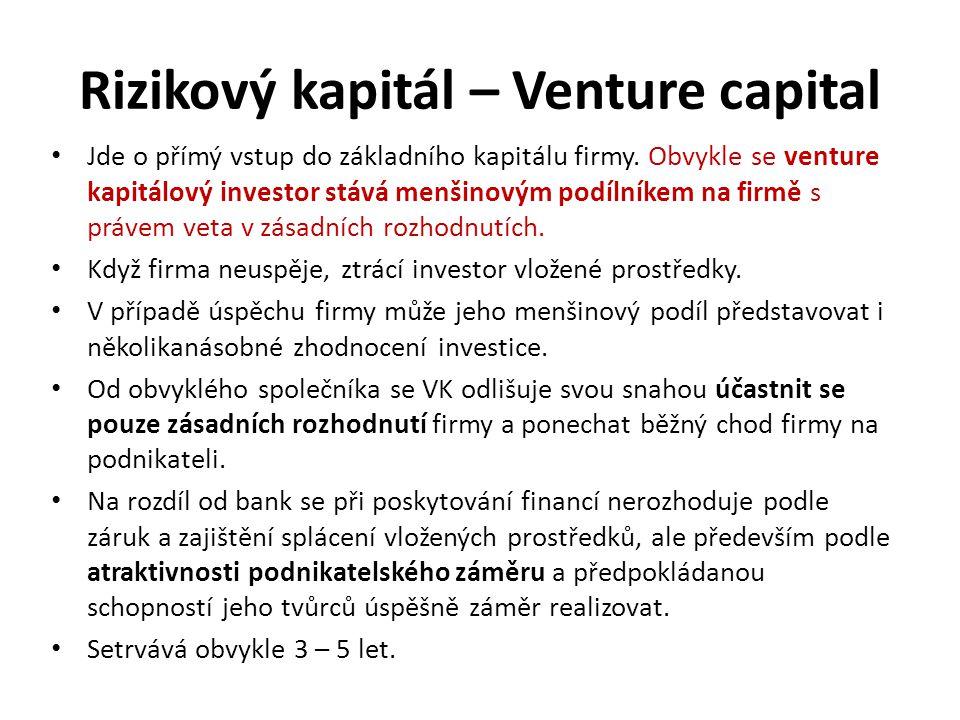Rizikový kapitál – Venture capital Jde o přímý vstup do základního kapitálu firmy. Obvykle se venture kapitálový investor stává menšinovým podílníkem