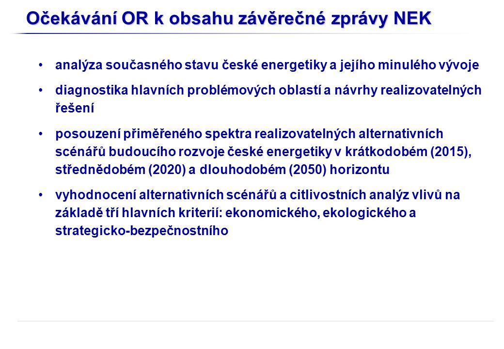 Očekávání OR k obsahu závěrečné zprávy NEK analýza současného stavu české energetiky a jejího minulého vývoje diagnostika hlavních problémových oblastí a návrhy realizovatelných řešení posouzení přiměřeného spektra realizovatelných alternativních scénářů budoucího rozvoje české energetiky v krátkodobém (2015), střednědobém (2020) a dlouhodobém (2050) horizontu vyhodnocení alternativních scénářů a citlivostních analýz vlivů na základě tří hlavních kriterií: ekonomického, ekologického a strategicko-bezpečnostního