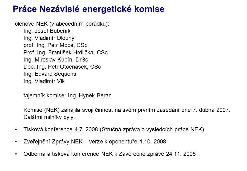 Práce Nezávislé energetické komise členové NEK (v abecedním pořádku): Ing.