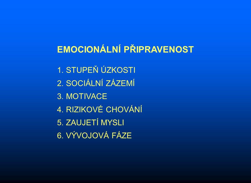 EMOCIONÁLNÍ PŘIPRAVENOST 1. STUPEŇ ÚZKOSTI 2. SOCIÁLNÍ ZÁZEMÍ 3.