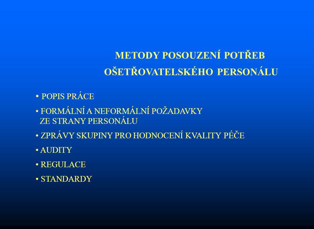 METODY POSOUZENÍ POTŘEB OŠETŘOVATELSKÉHO PERSONÁLU POPIS PRÁCE FORMÁLNÍ A NEFORMÁLNÍ POŽADAVKY ZE STRANY PERSONÁLU ZPRÁVY SKUPINY PRO HODNOCENÍ KVALITY PÉČE AUDITY REGULACE STANDARDY