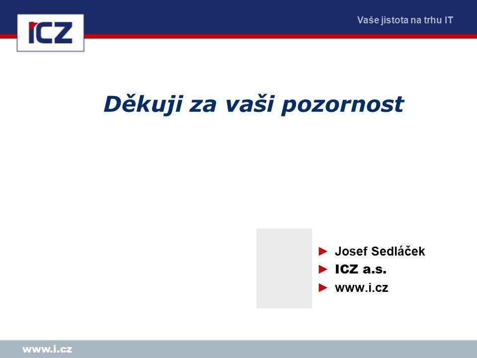 Vaše jistota na trhu IT www.i.cz Děkuji za vaši pozornost ►Josef Sedláček ► ICZ a.s. ►www.i.cz