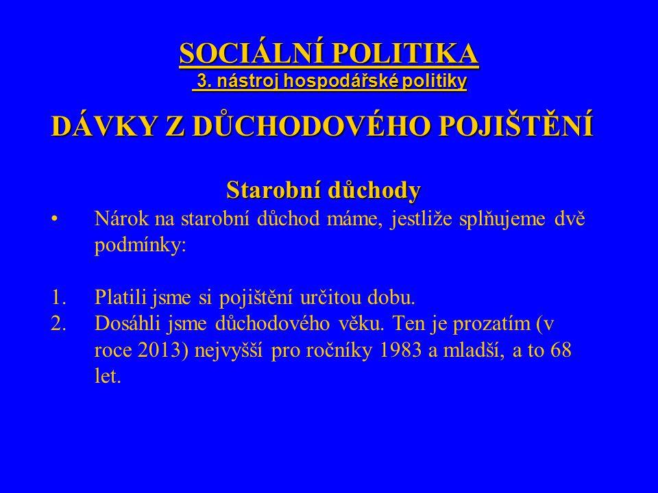 SOCIÁLNÍ POLITIKA 3. nástroj hospodářské politiky DÁVKY Z DŮCHODOVÉHO POJIŠTĚNÍ Starobní důchody Nárok na starobní důchod máme, jestliže splňujeme dvě