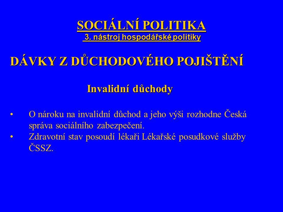 SOCIÁLNÍ POLITIKA 3. nástroj hospodářské politiky DÁVKY Z DŮCHODOVÉHO POJIŠTĚNÍ Invalidní důchody O nároku na invalidní důchod a jeho výši rozhodne Če