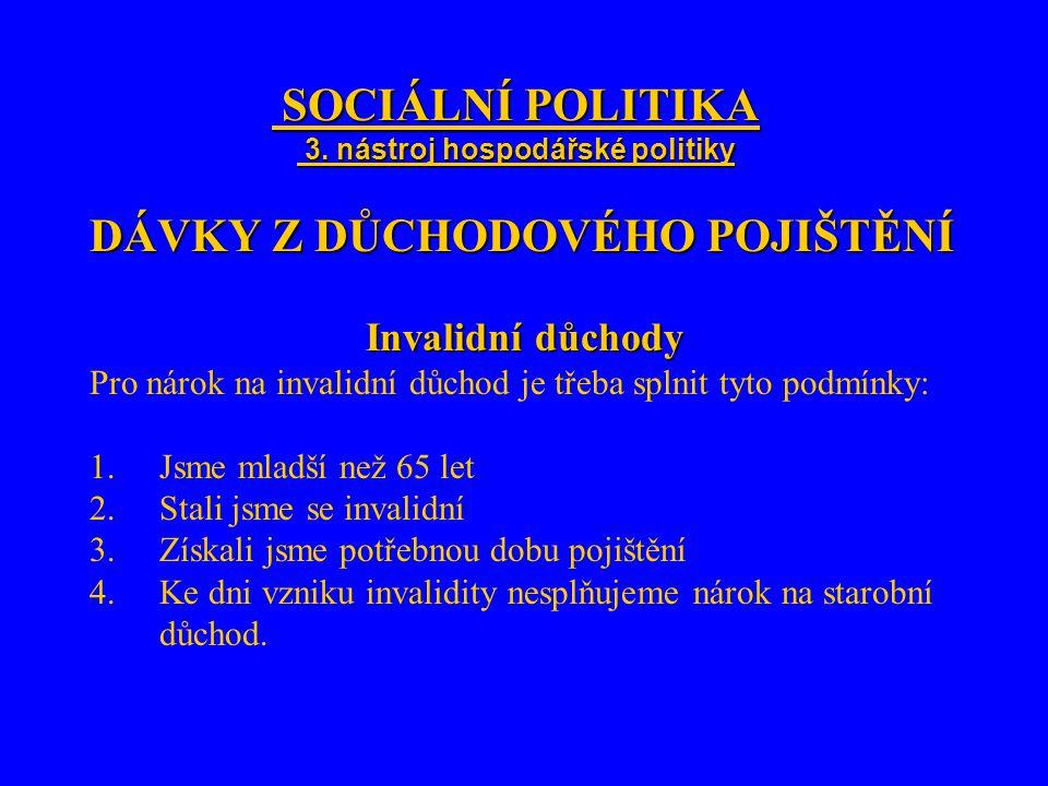 SOCIÁLNÍ POLITIKA 3. nástroj hospodářské politiky SOCIÁLNÍ POLITIKA 3. nástroj hospodářské politiky DÁVKY Z DŮCHODOVÉHO POJIŠTĚNÍ Invalidní důchody Pr