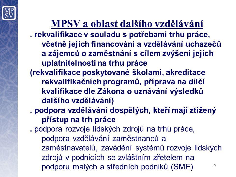 6 MPSV a oblast dalšího vzdělávání.