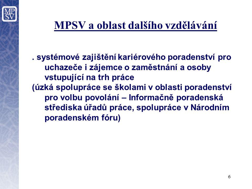 7 MPSV a oblast dalšího vzdělávání - Projekt na podporu zavedení strategického nástroje předvídání kvalifikačních potřeb.