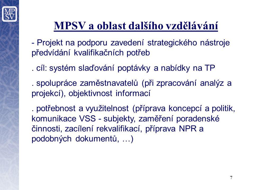 8 MPSV a oblast dalšího vzdělávání - Projekt zaměřený na podporu SME v účasti na dalším profesním vzdělávání.