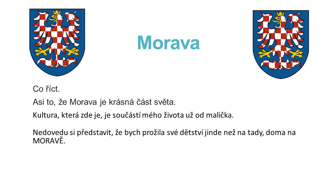 Morava Co říct. Asi to, že Morava je krásná část světa. Kultura, která zde je, je součástí mého života už od malička. Nedovedu si představit, že bych