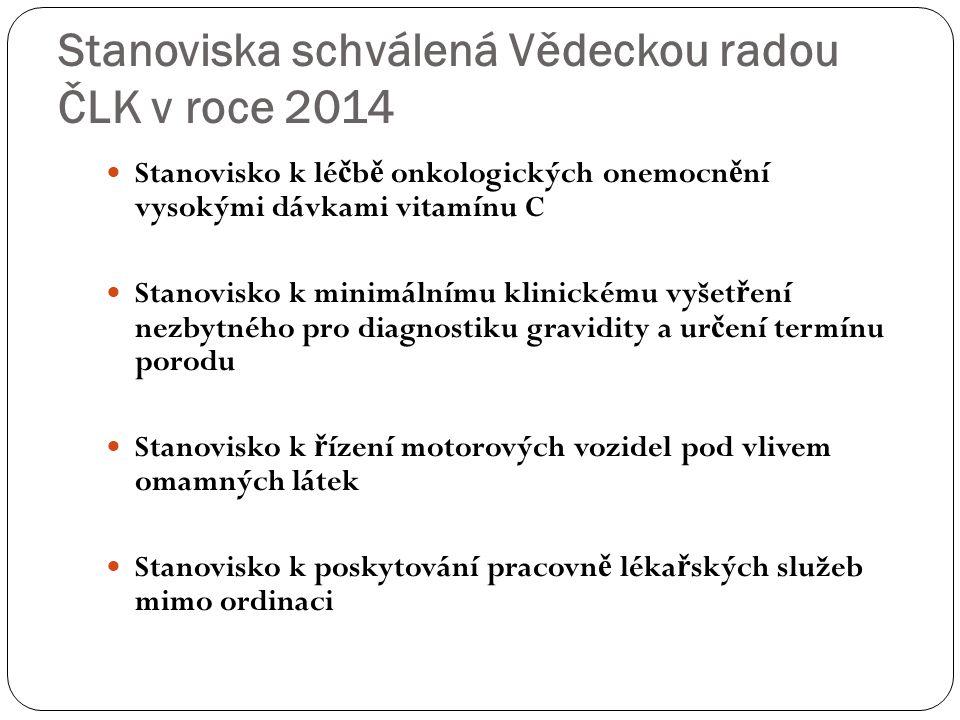 Stanoviska schválená Vědeckou radou ČLK v roce 2014 Stanovisko k lé č b ě onkologických onemocn ě ní vysokými dávkami vitamínu C Stanovisko k minimáln