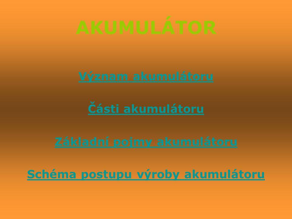 Význam akumulátoru Části akumulátoru Základní pojmy akumulátoru Schéma postupu výroby akumulátoru