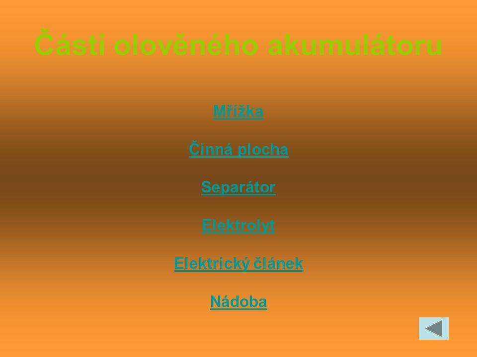 Části olověného akumulátoru Mřížka Činná plocha Separátor Elektrolyt Elektrický článek Nádoba