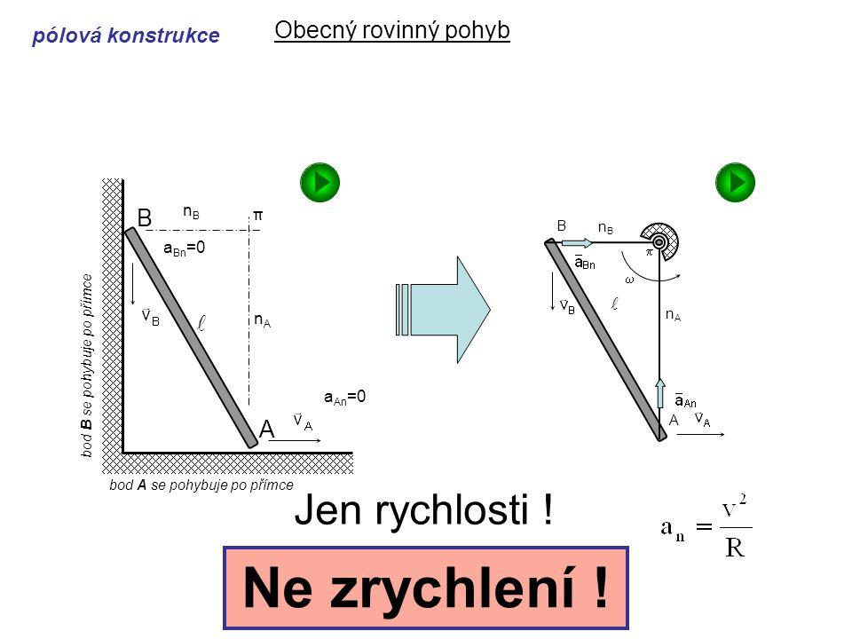 Dynamika I, 6. přednáška Obecný rovinný pohyb Jen rychlosti .