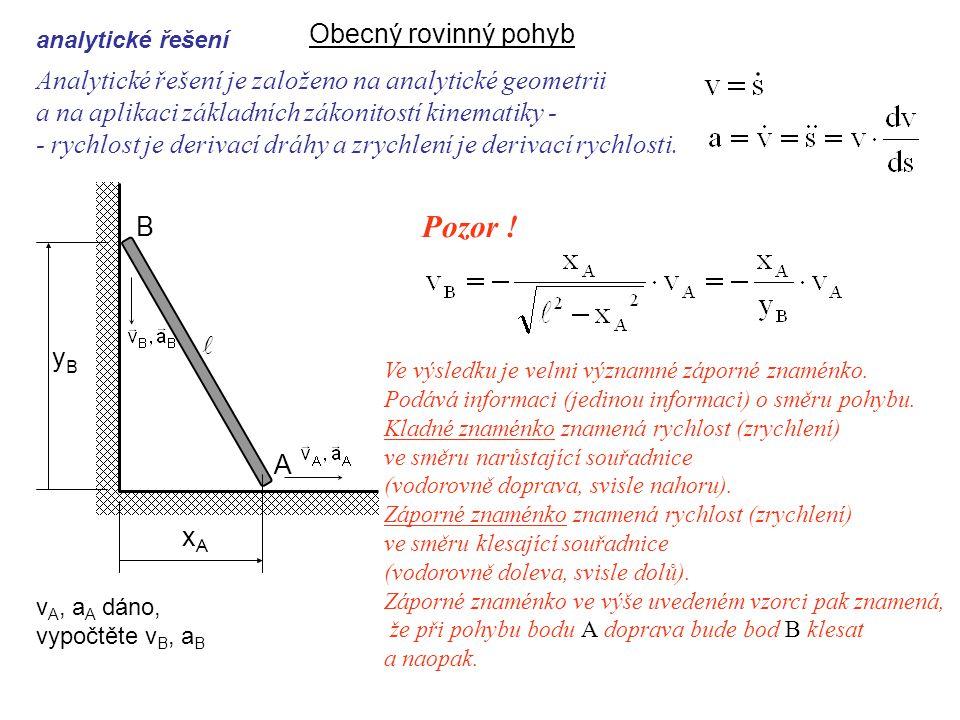 Analytické řešení je založeno na analytické geometrii a na aplikaci základních zákonitostí kinematiky - - rychlost je derivací dráhy a zrychlení je derivací rychlosti.