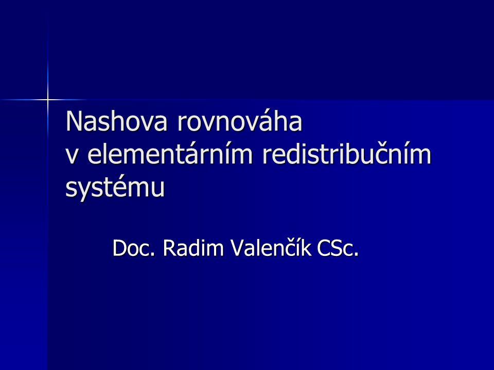 Nashova rovnováha v elementárním redistribučním systému Doc. Radim Valenčík CSc.