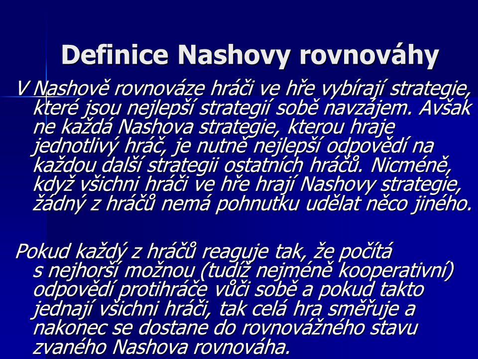 Definice Nashovy rovnováhy V Nashově rovnováze hráči ve hře vybírají strategie, které jsou nejlepší strategií sobě navzájem.