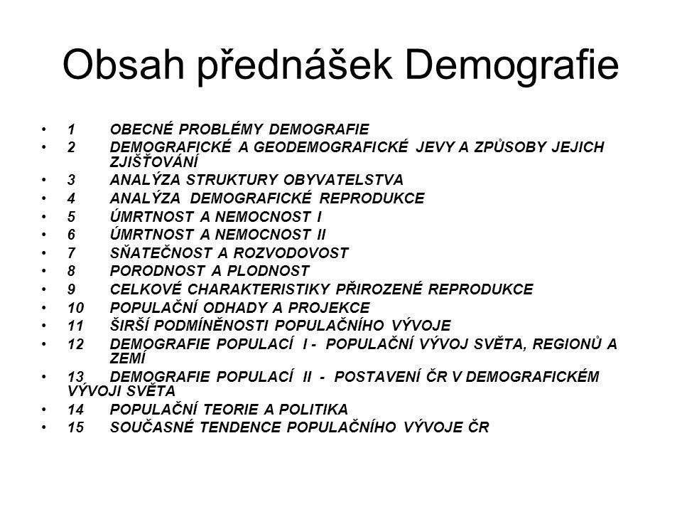 Obsah přednášek Demografie 1OBECNÉ PROBLÉMY DEMOGRAFIE 2DEMOGRAFICKÉ A GEODEMOGRAFICKÉ JEVY A ZPŮSOBY JEJICH ZJIŠŤOVÁNÍ 3ANALÝZA STRUKTURY OBYVATELSTVA 4ANALÝZA DEMOGRAFICKÉ REPRODUKCE 5ÚMRTNOST A NEMOCNOST I 6ÚMRTNOST A NEMOCNOST II 7SŇATEČNOST A ROZVODOVOST 8PORODNOST A PLODNOST 9CELKOVÉ CHARAKTERISTIKY PŘIROZENÉ REPRODUKCE 10POPULAČNÍ ODHADY A PROJEKCE 11ŠIRŠÍ PODMÍNĚNOSTI POPULAČNÍHO VÝVOJE 12DEMOGRAFIE POPULACÍ I - POPULAČNÍ VÝVOJ SVĚTA, REGIONŮ A ZEMÍ 13DEMOGRAFIE POPULACÍ II - POSTAVENÍ ČR V DEMOGRAFICKÉM VÝVOJI SVĚTA 14POPULAČNÍ TEORIE A POLITIKA 15SOUČASNÉ TENDENCE POPULAČNÍHO VÝVOJE ČR