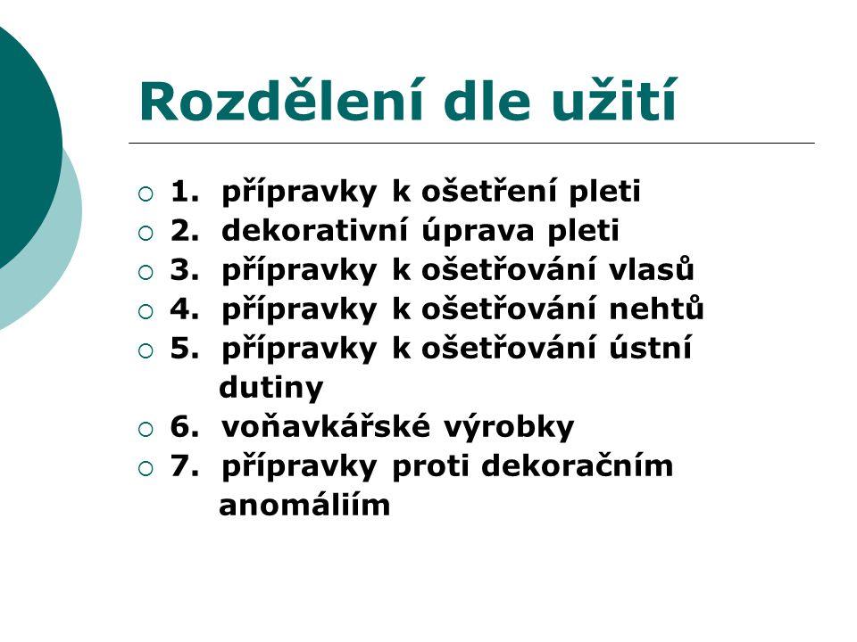 Rozdělení dle užití  1. přípravky k ošetření pleti  2.