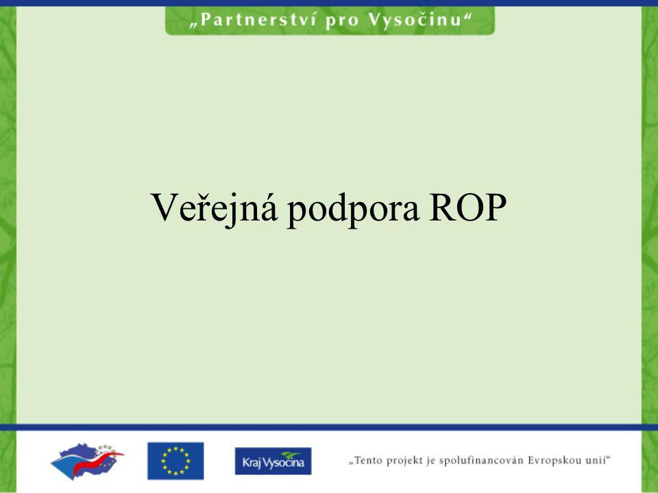 Jak je posuzován ROP z hlediska VP Program podpory (bezpochyby zakládá VP tam, kde jsou splněny znaky VP) Je nutné řešit program jako celek, nikoliv jako jednotlivé podpory Dle charakteru podporovaných aktivit je nutné stanovit nejoptimálnější řešení podpory (aplikace výjimek)