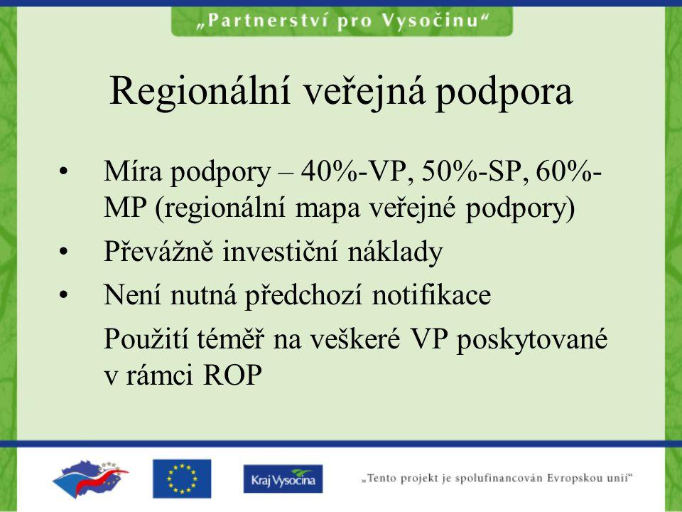 Regionální veřejná podpora Míra podpory – 40%-VP, 50%-SP, 60%- MP (regionální mapa veřejné podpory) Převážně investiční náklady Není nutná předchozí notifikace Použití téměř na veškeré VP poskytované v rámci ROP